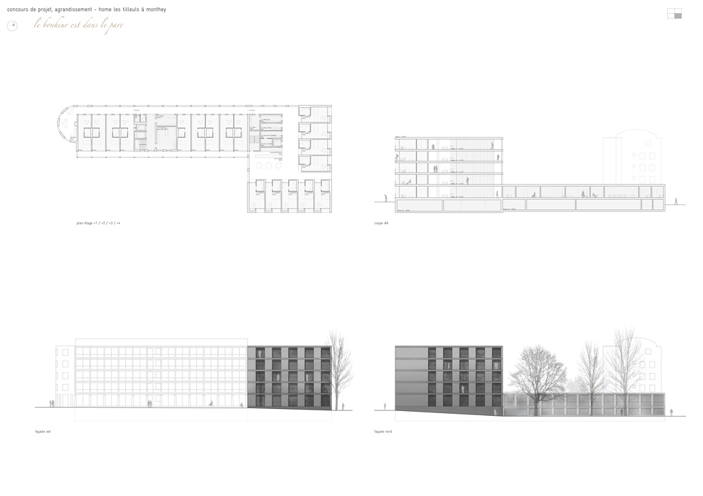 extension to les tilleuls care home in monthey, competition winner