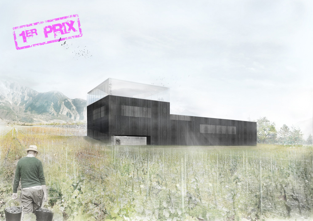 enlargement of the cave du grand brûlé winery at leytron, 1st prize in competition