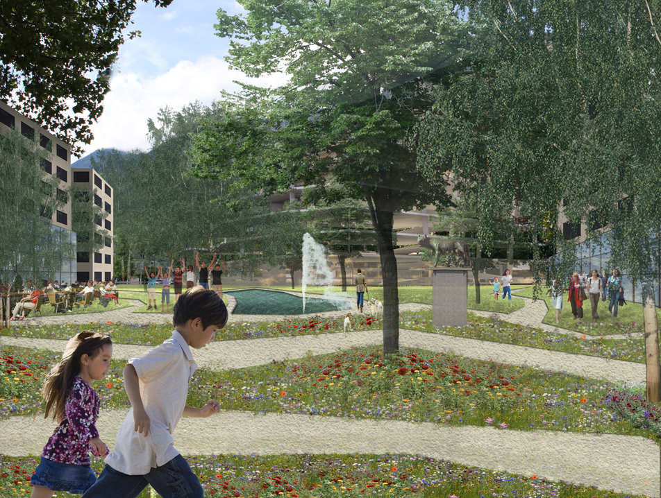 reorganisation of the place de rome, martigny, competition entry